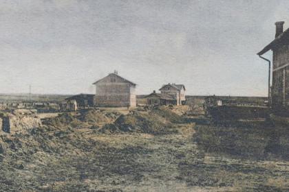 Будівництво вокзалу в Стоянові 1910 року